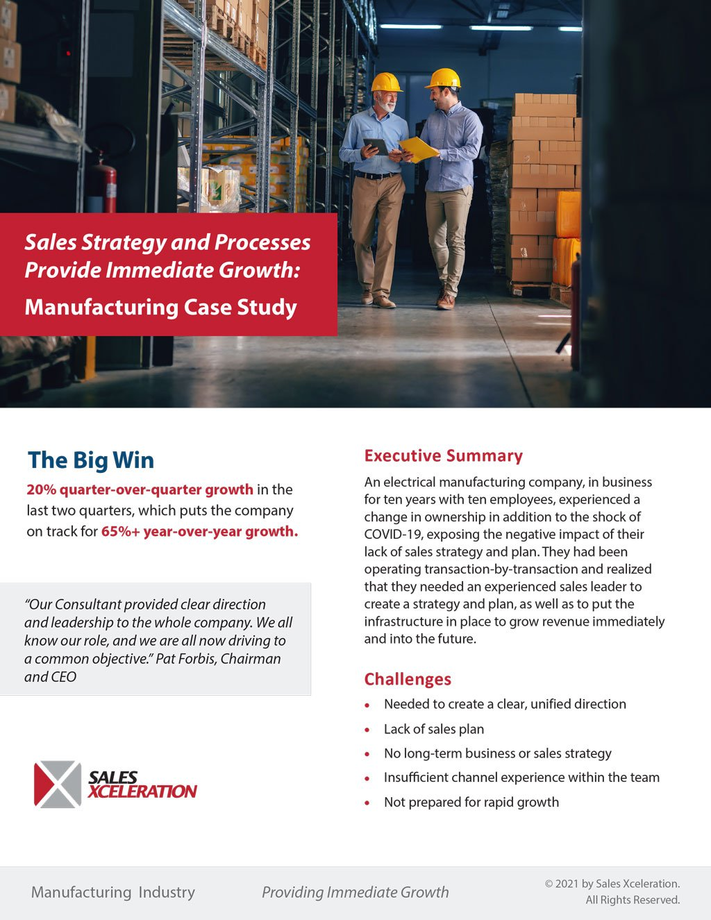 Sales Strategy and Processes Provide Immediate Growth: Manufacturing Case Study